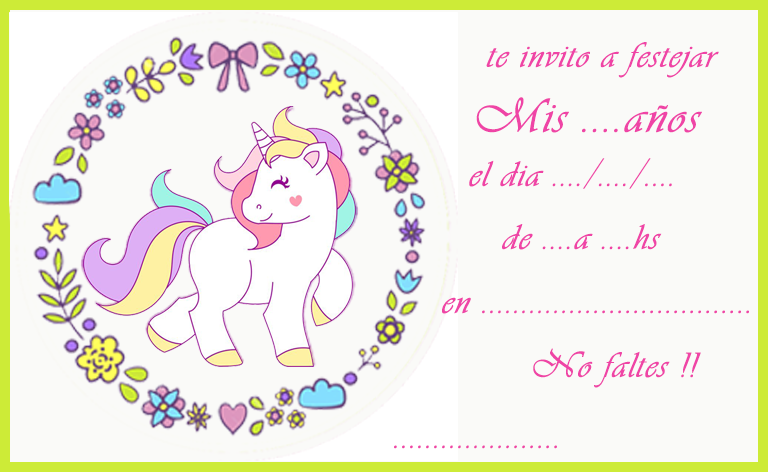 Invitacion Tarjetita Candy Bar Unicornio Kit Imprimible