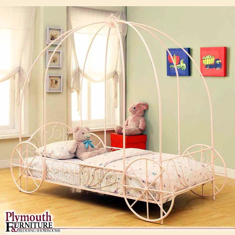 Massi Pink Twin Canopy Bed Pink Twin Bed Kid Beds Carriage Bed