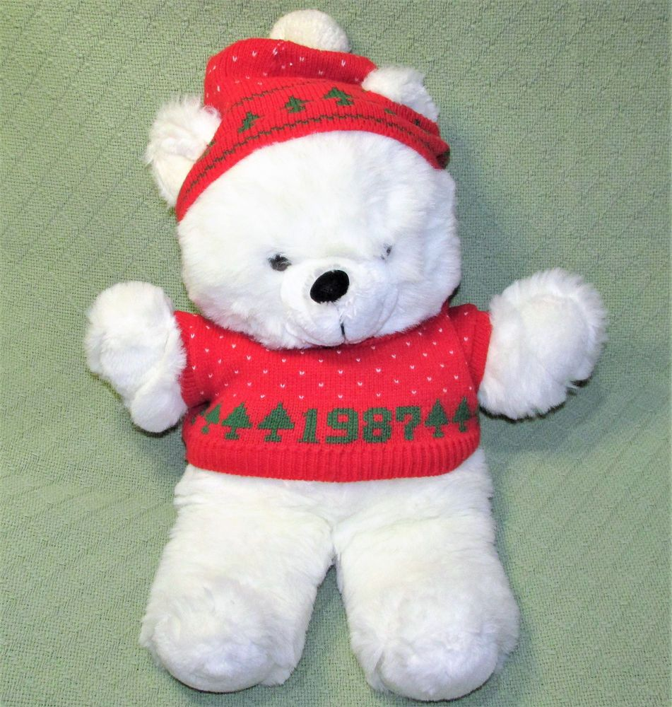 Details about 1987 KMART Teddy Bear Christmas Vintage Holiday WHITE ...