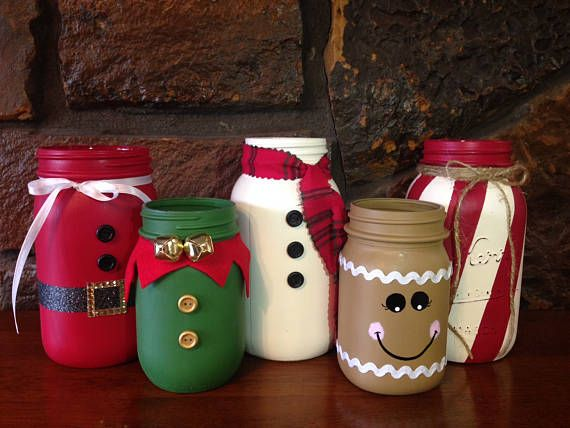 These Adorable Christmas Themed Painted Mason Jars Will Add Holiday Cheer To Any Room This Listing I Christmas Jars Mason Jar Decorations Mason Jar Crafts Diy