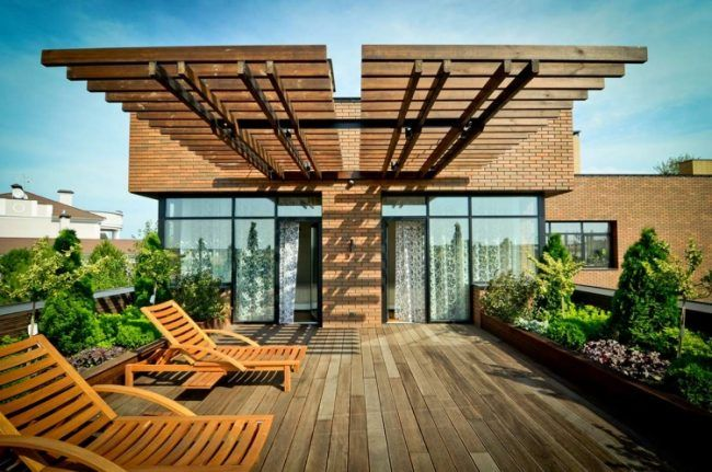 Apartments, Pergola Sun Loungers Wooden Floor Glass Wall Window Door Plant  Courtyard Park Brick Wall Residential Luxury Exterior Outdoor Decorating ...
