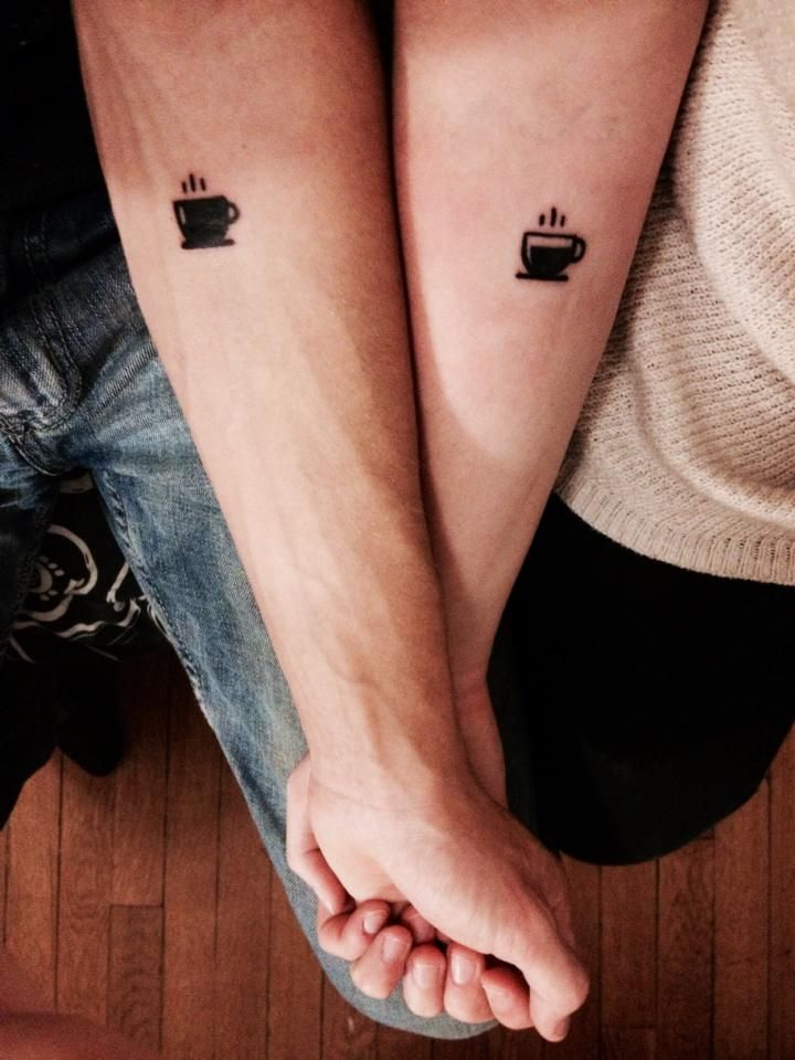 Black Coffee Cup Tattoo On Couple Forearm