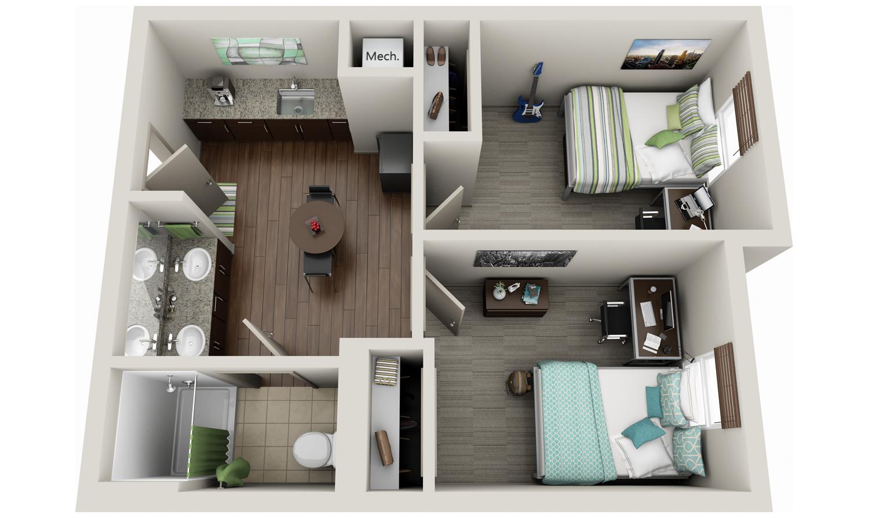 3d Floor Plan Dorm Design University Of Kentucky Dorm Uk Housing