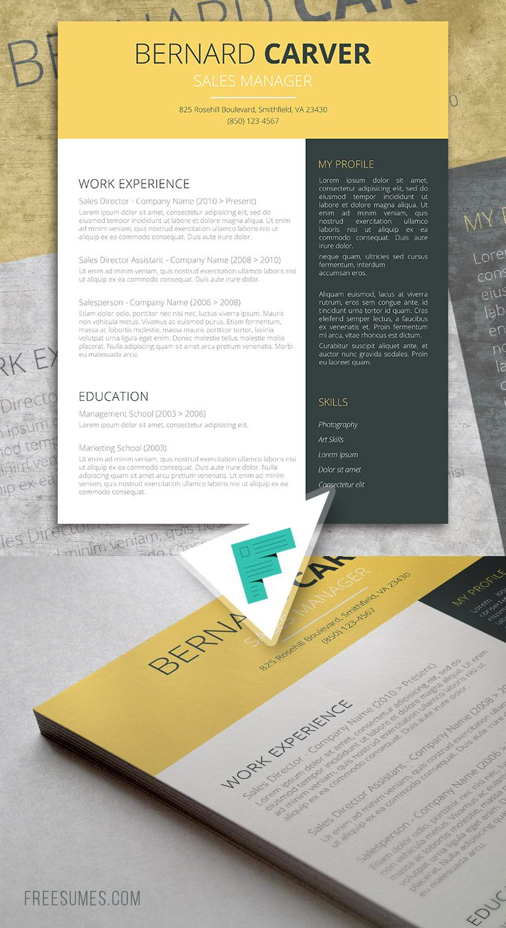 Free YellowDark Grey Cv Template  Cv Template And Template
