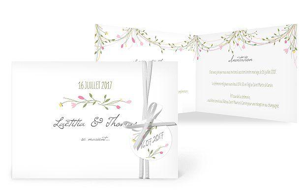 """Faire-part mariage """"Guirlande de fleurs"""""""