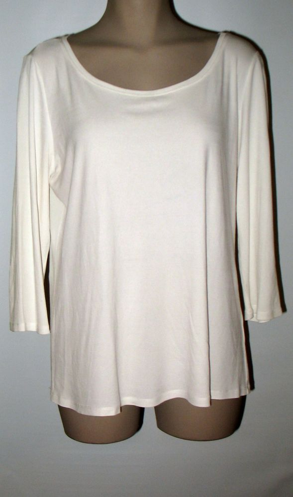 EILEEN FISHER Silk Jersey 3/4 Sleeve Top - L - Light Ivory #EILEENFISHER #Lightknitjerseytop #Versatile