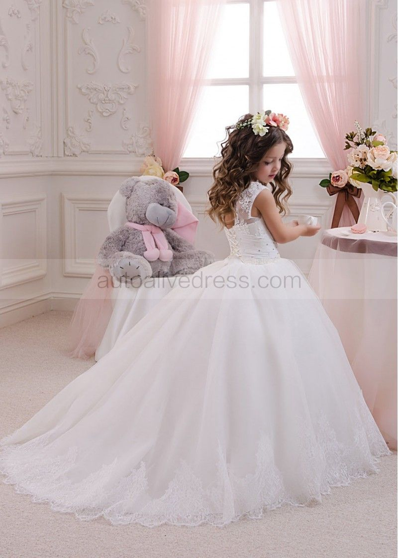 A Small Flower Girl Dresses with Train