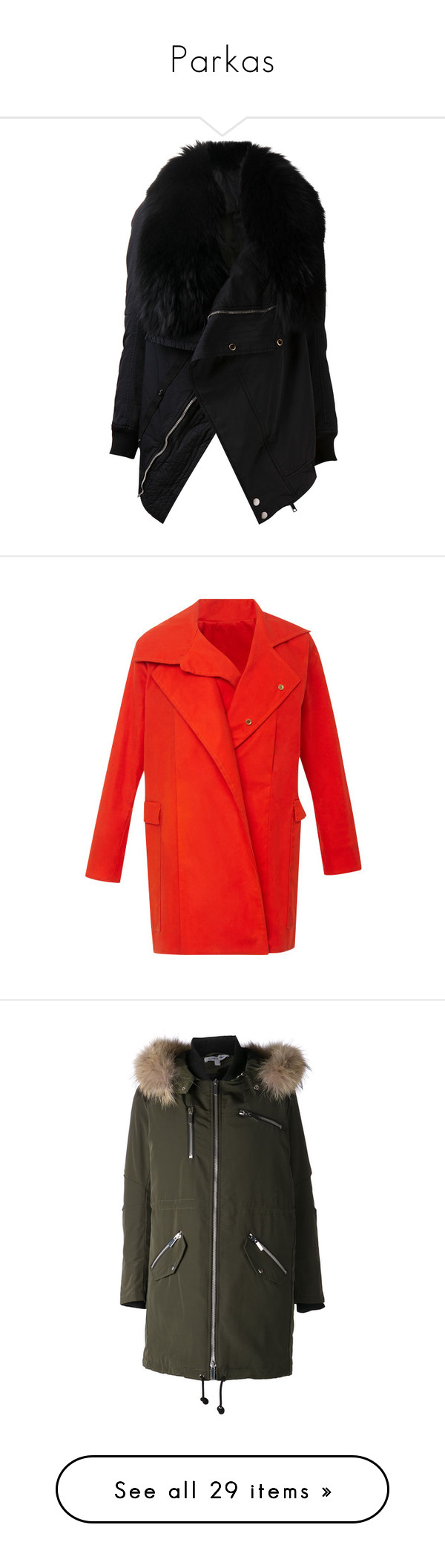 """Parkas"" by carolines-closet ❤ liked on Polyvore featuring outerwear, coats, jackets, fur, tops, fur parka coat, long sleeve coat, fur collar coat, drkshdw and parka coats"