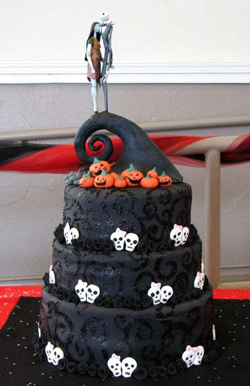 Three Tier Black Nightmare Before Christmas Wedding Cake Made By Angelic Sweets
