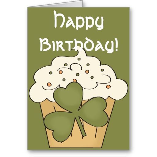 March Birthday Cupcakes Irish Cupcake Happy March Birthday Card Happy Birthday Irish Custom Holiday Card Irish Birthday