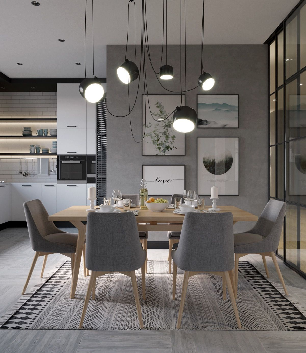 Aim Multi Light Pendant For Flos Lighting Pl364 3 Dining Room Design Modern Interior Design Dining Room Grey Dining Room Dining room design gray