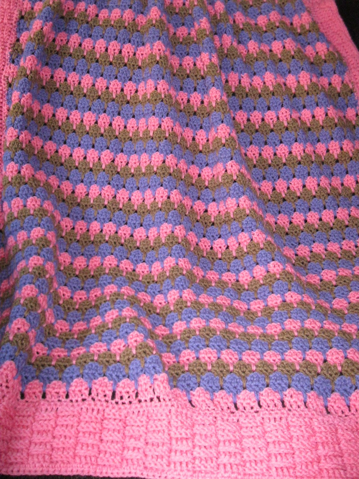 Larksfoot Stitch Crib Blanket With Basket Weave Edging Made With Red Heart  Super Saver Yarn