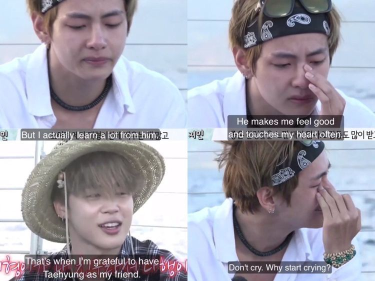 Taehyung getting emo at Jimins touching words to him DO YOU