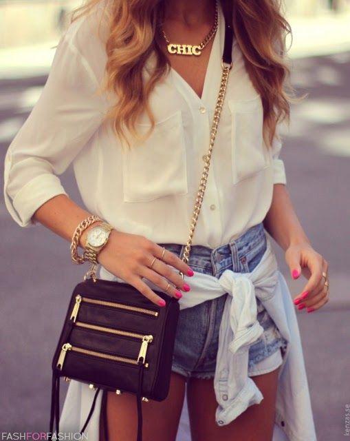Kenza blog, high waisted shorts, silk blouse, Cross body bag, black heels. My summer go to.