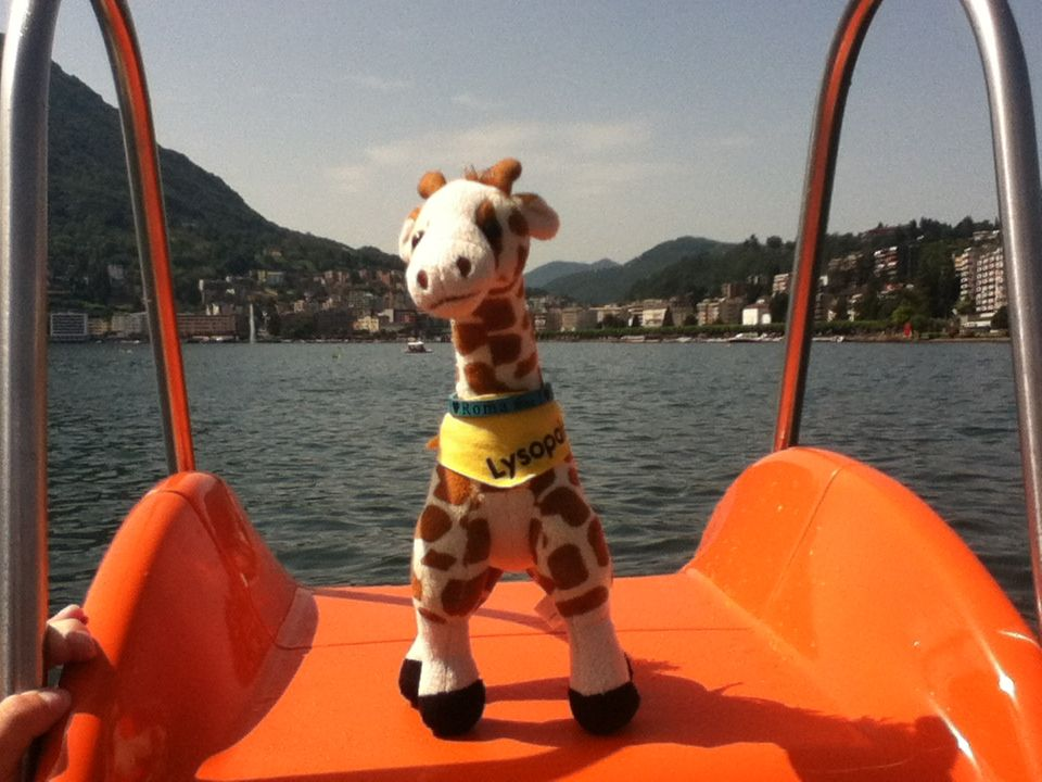 There I am in Lugano, Switzerland on a paddle boat with a slide! :D that was fun