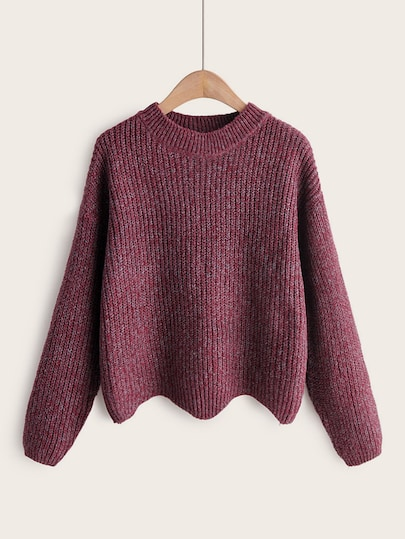 Space Dye Asymmetrical Wave Hem Sweater | Jersey de punto