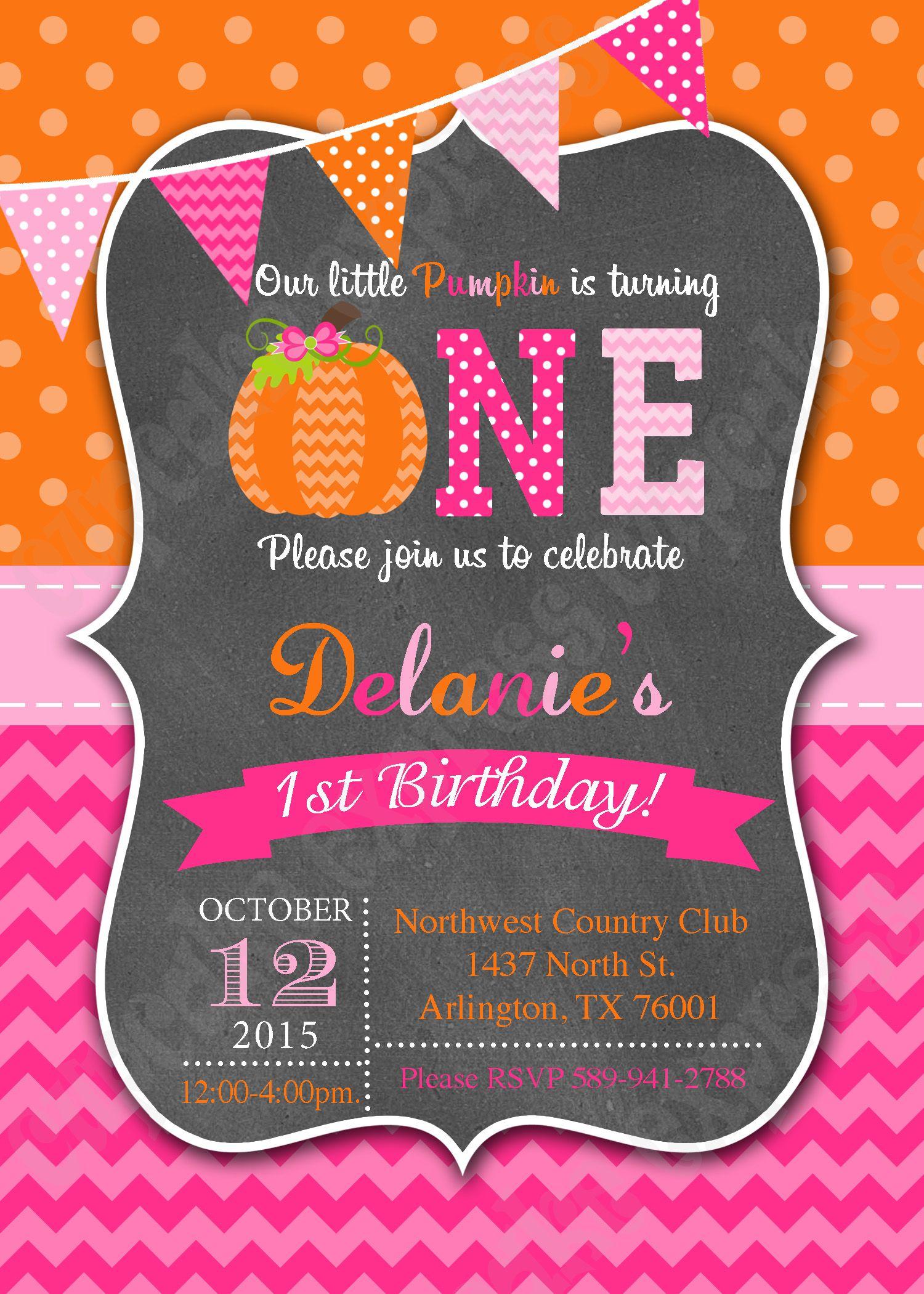 Pumpkin Girls First Birthday Printable Invitation Party 1st Patch Fall Halloween Pink Orange Cupcake Express