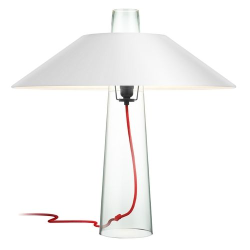 Sonneman Lighting Modern Clear Glass Table Lamp With White Paper Shade And Red Cord 4750 87w Destin Lamp Clear Glass Table Lamp Industrial Style Table Lamp