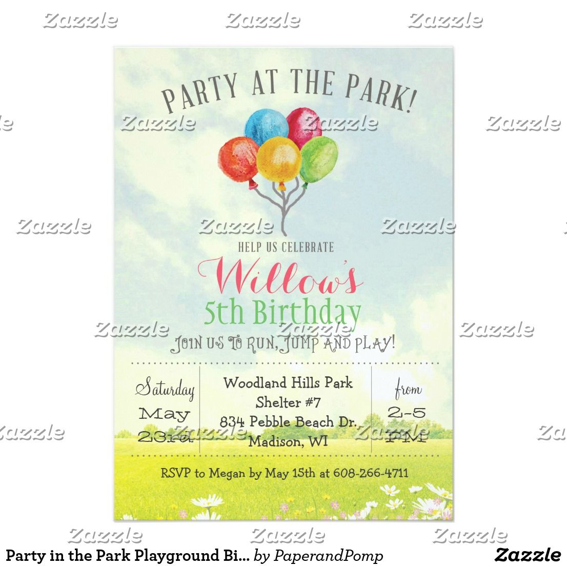 Party in the park playground birthday invitation birthdays party in the park playground birthday invitation filmwisefo Gallery