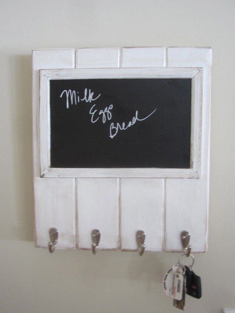 Mail Wood Wall Key Holder Rack Hook Entry Foyer White Chalkboard Memo Wall Key Holder Primitive Decorating Country Country Primitive