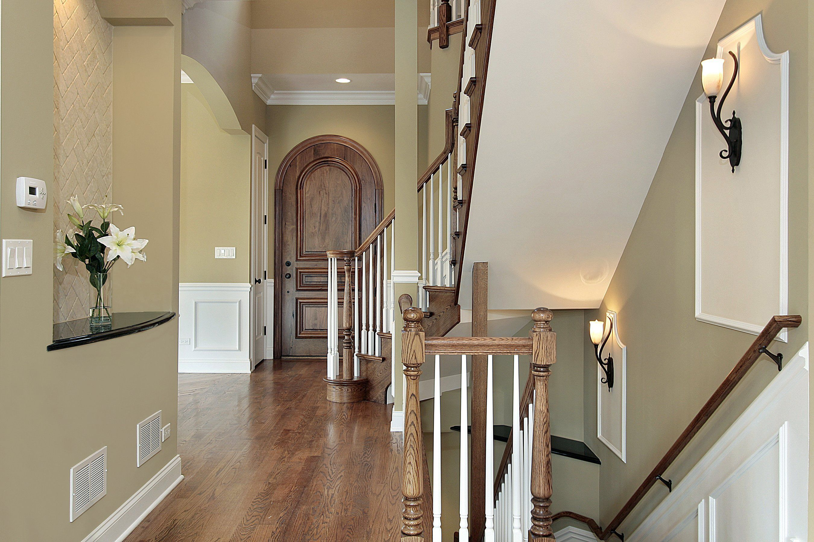 Beautiful Hallway With White Painted Wainscoting A