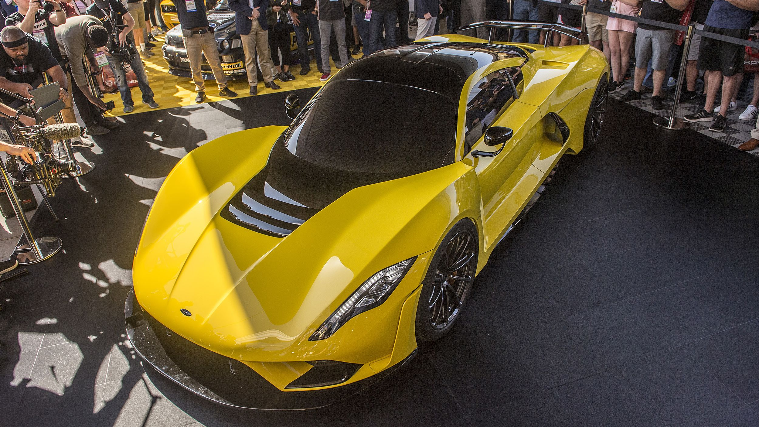 Hennessey Unveiled Its Freaking Awesome 1600 Hp Venom F5 At Sema Hennessey Car Show Sema Car Show