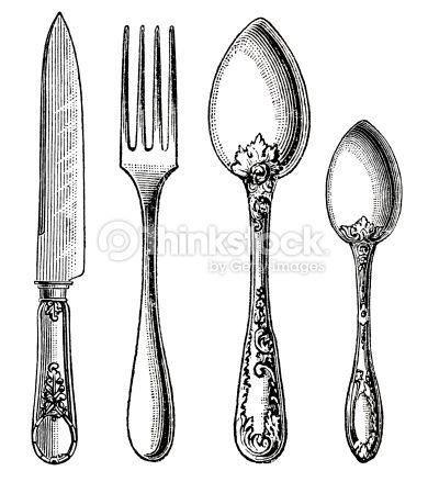 Vintage Kitchen Utensils Illustration vintage silverware. knife, fork and spoon. engraving on white