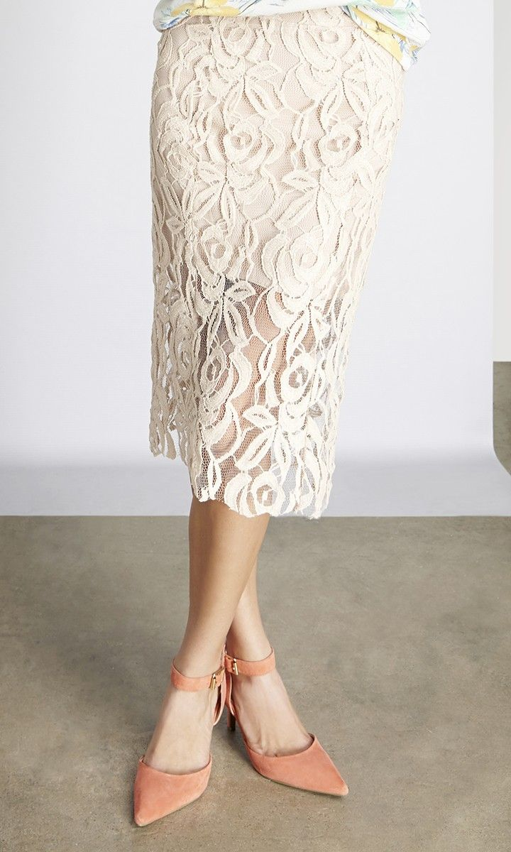 Pencil lace skirt cream forecast dress for spring in 2019