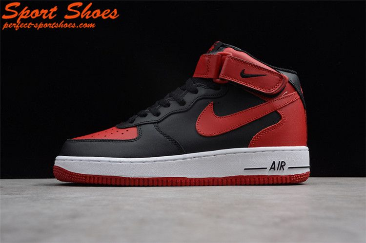 Latest Nike Air Force 1 Mid Bred Mens Athletic Shoes Red Black