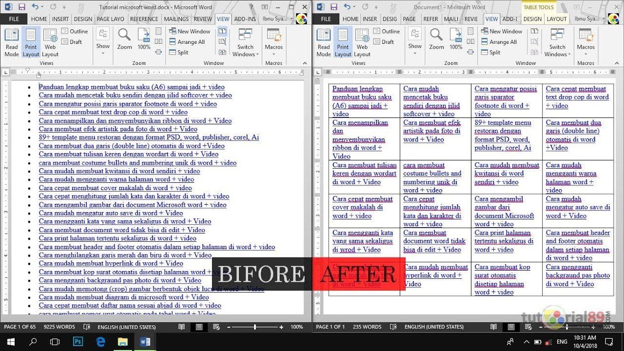 Cara Merubah Tulisan Biasa Menjadi Table Di Microsoft Word Convert Text To Table Tutorial89 Tutorial89 Tutorial Microsoft Office Photoshop Blog Tulisan