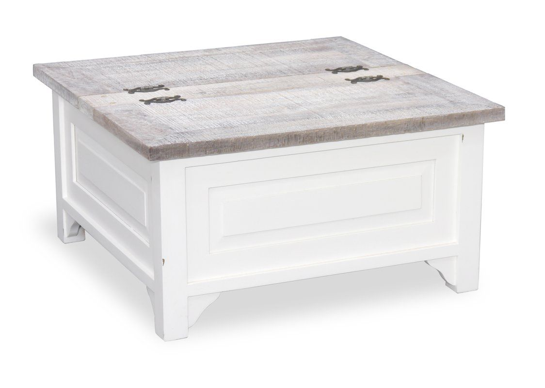 Whitewash Cottonwood Square Coffee Table With Storage Has A Lift