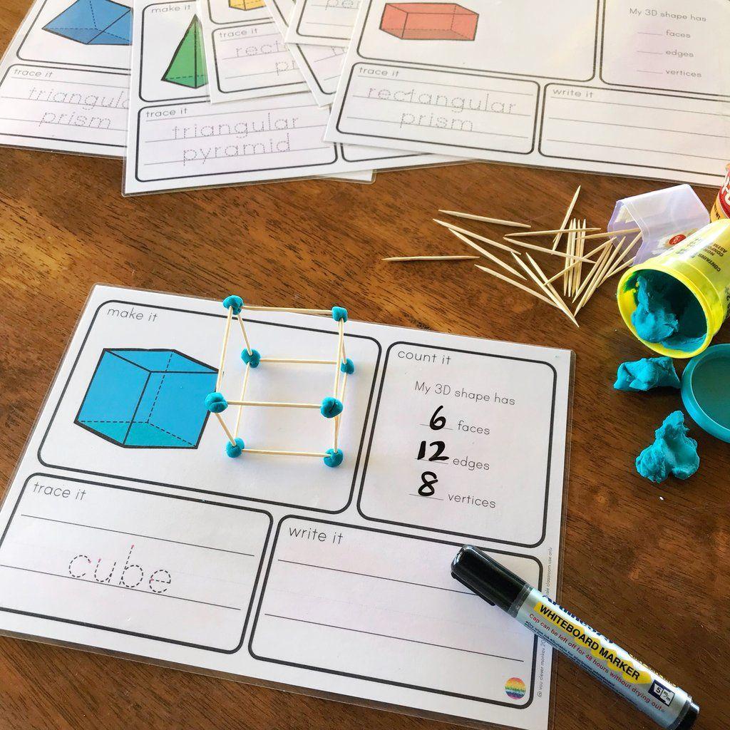 3d Object Playdough Make It Count It Write It Mats