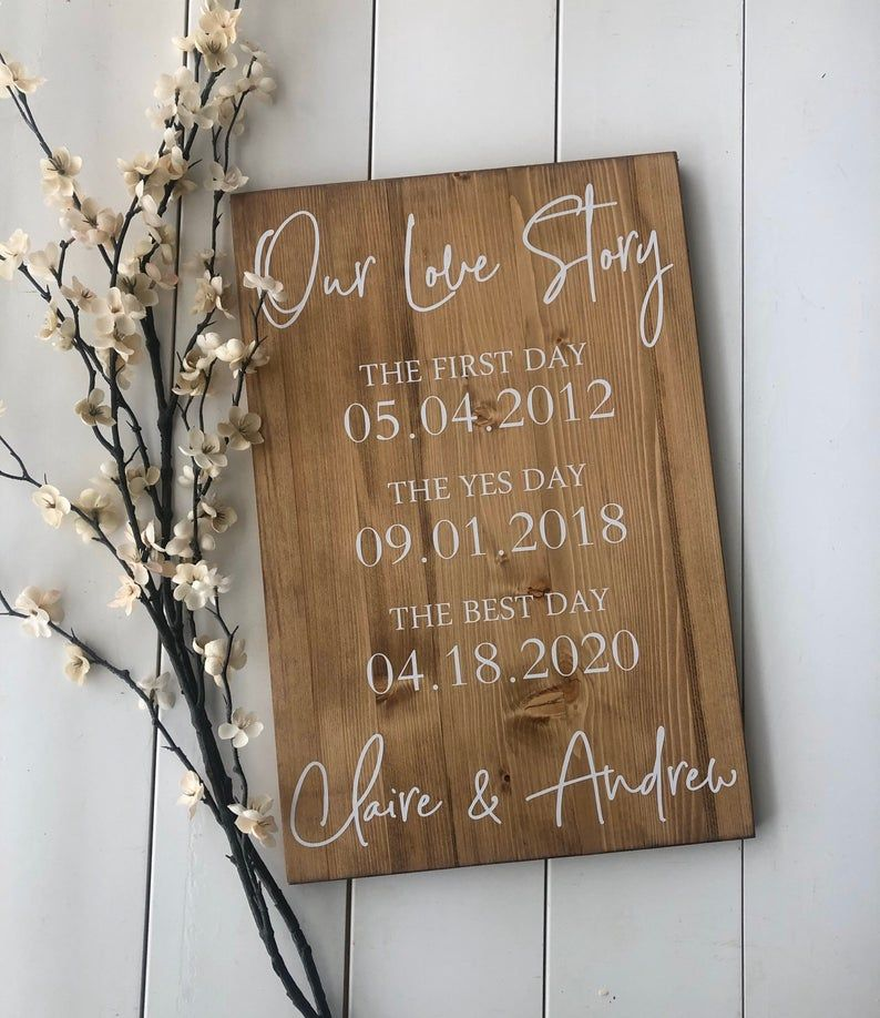 First Day Yes Day Best Day Sign Love Story Sign Special Dates | Etsy | Wedding date sign