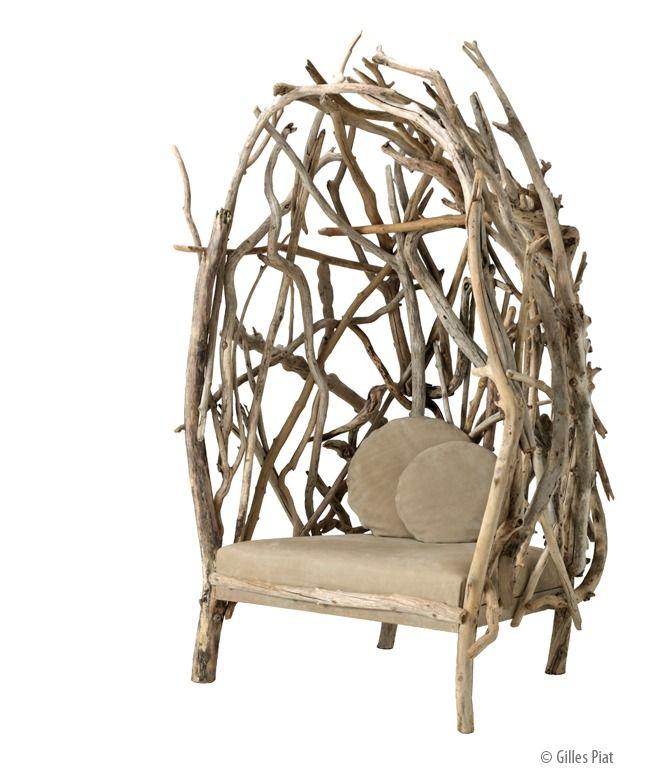 Berg re louise cruso franck lefebvre structure en bois flott planche us e et assise en - Chaise bois flotte ...