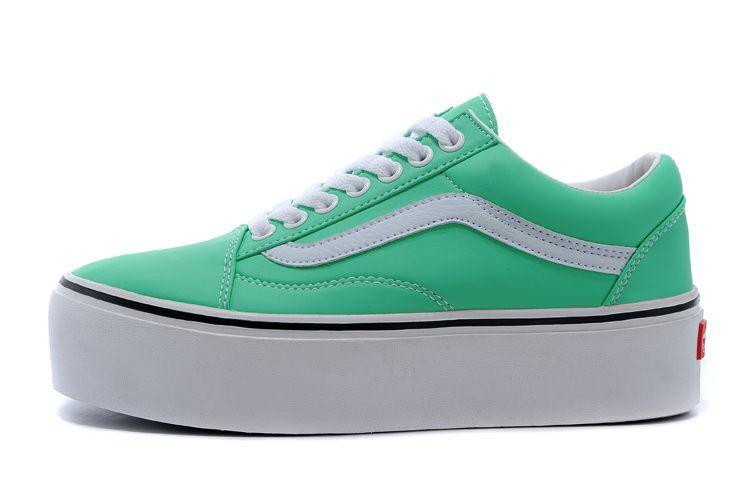 21a006d539 2015 VANS Old Skool Platform Low SHOES Green