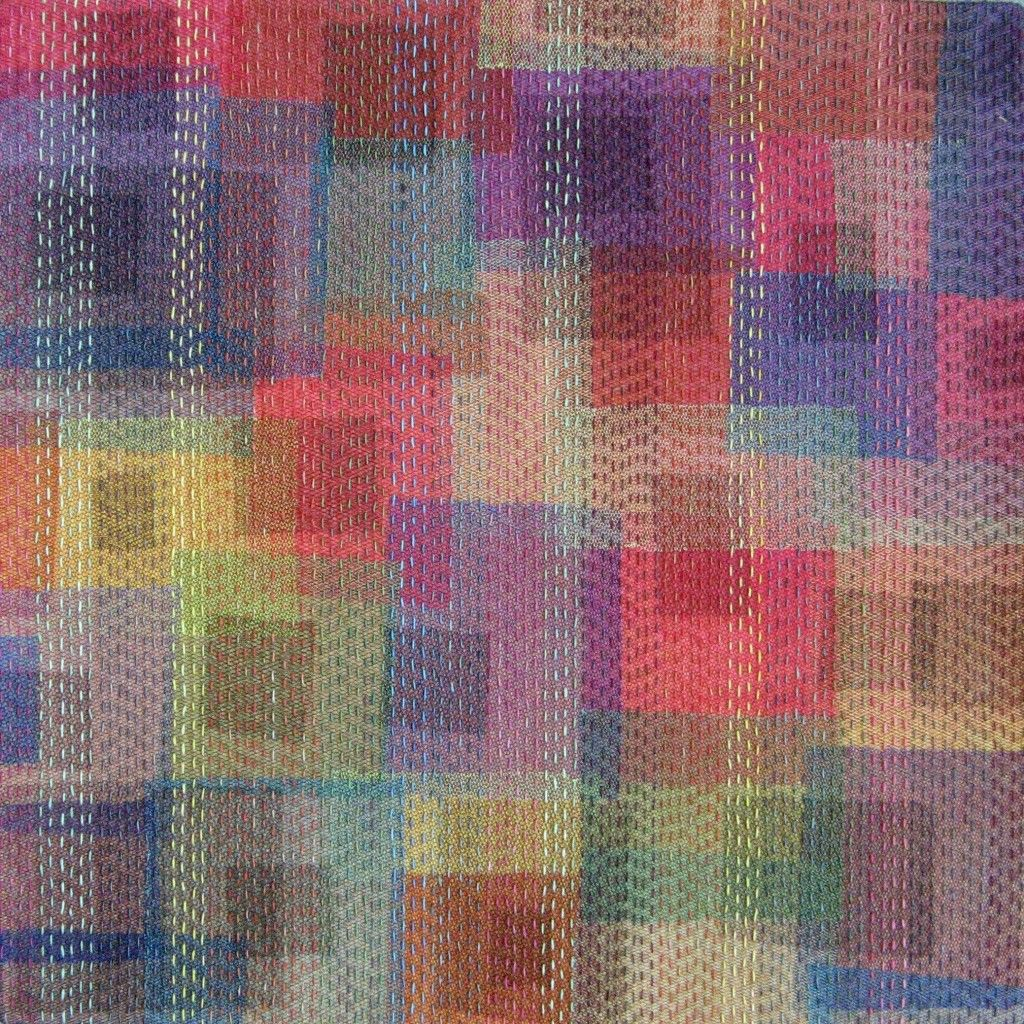 Colourful - Wietske Kluck. 12x12 hand dyed cotton, tulle, hand quilted.
