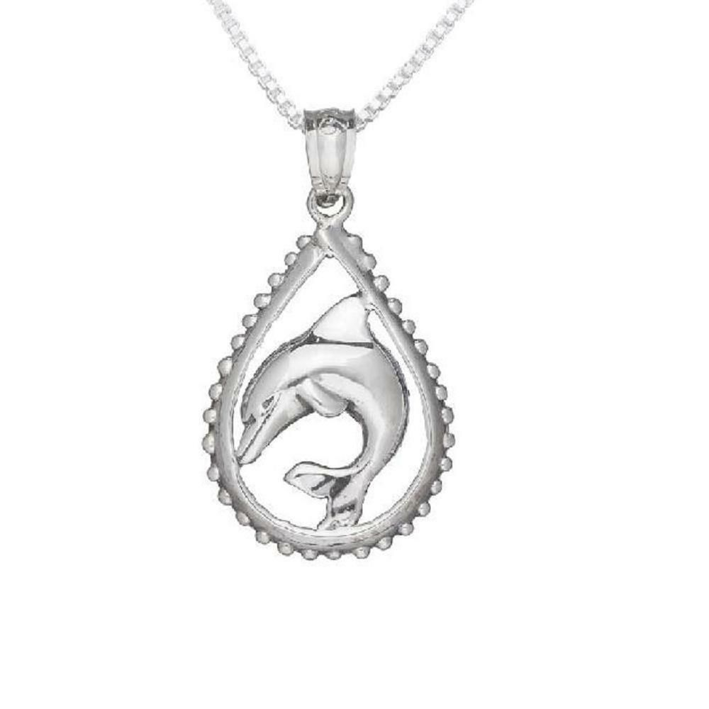 Sterling Silver Swimming Double Dolphin Charm Necklace on an 18 inch Box Chain