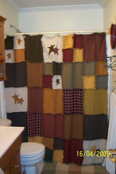 Homespun Rag Shower Curtain Patchwork Make One For Living Room Kitchen