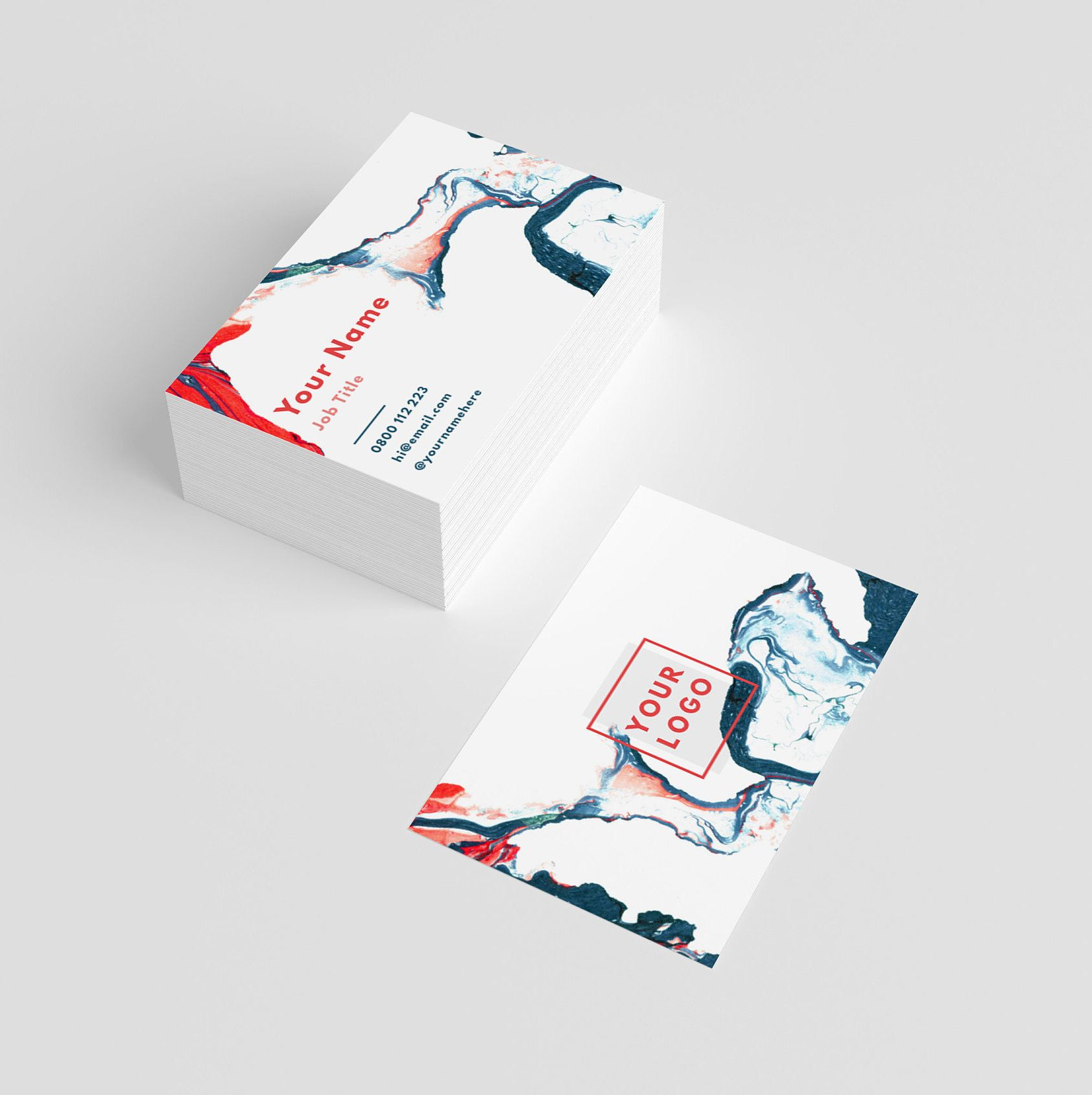Business Cards With Marble Design
