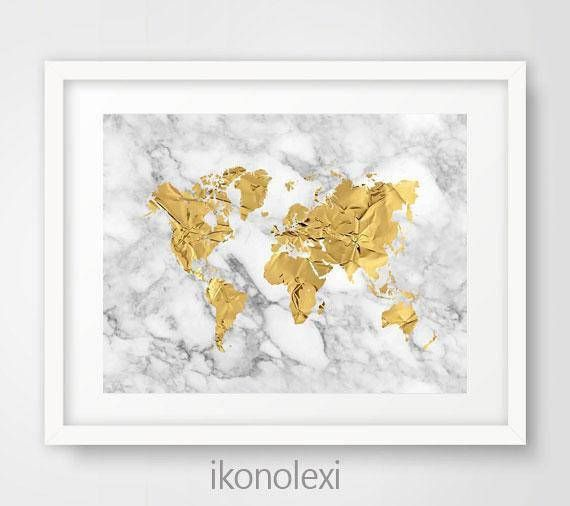 Gold World Map Poster Gold World Map Art Gold World Map Print - Cool map posters