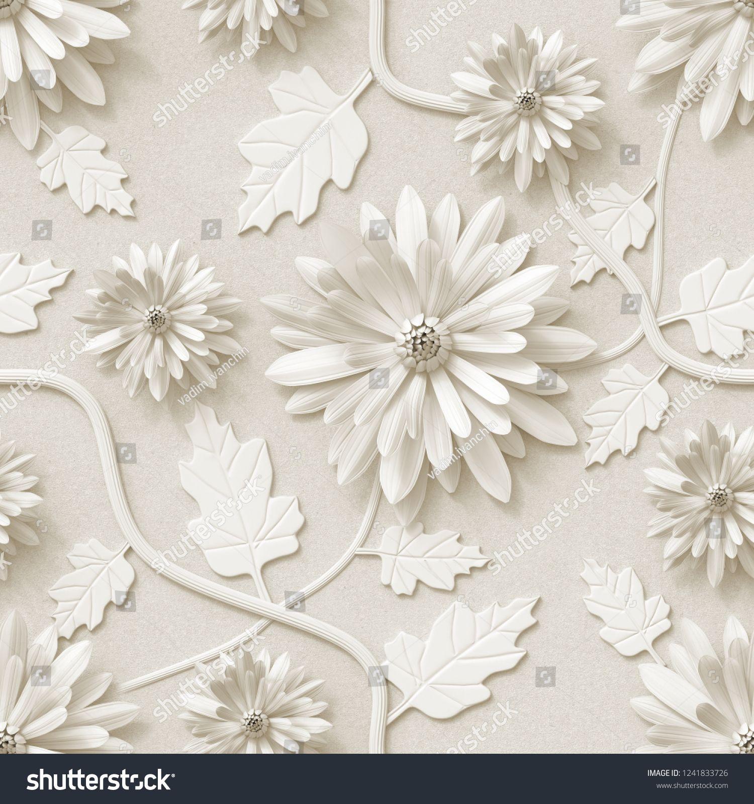3d Background Floral Wallpaper Flowers Chrysanthemum Seamless Wallpaper Floral Background Seamless Floral Wallpaper Wallpaper Roll Hand Painted Flowers
