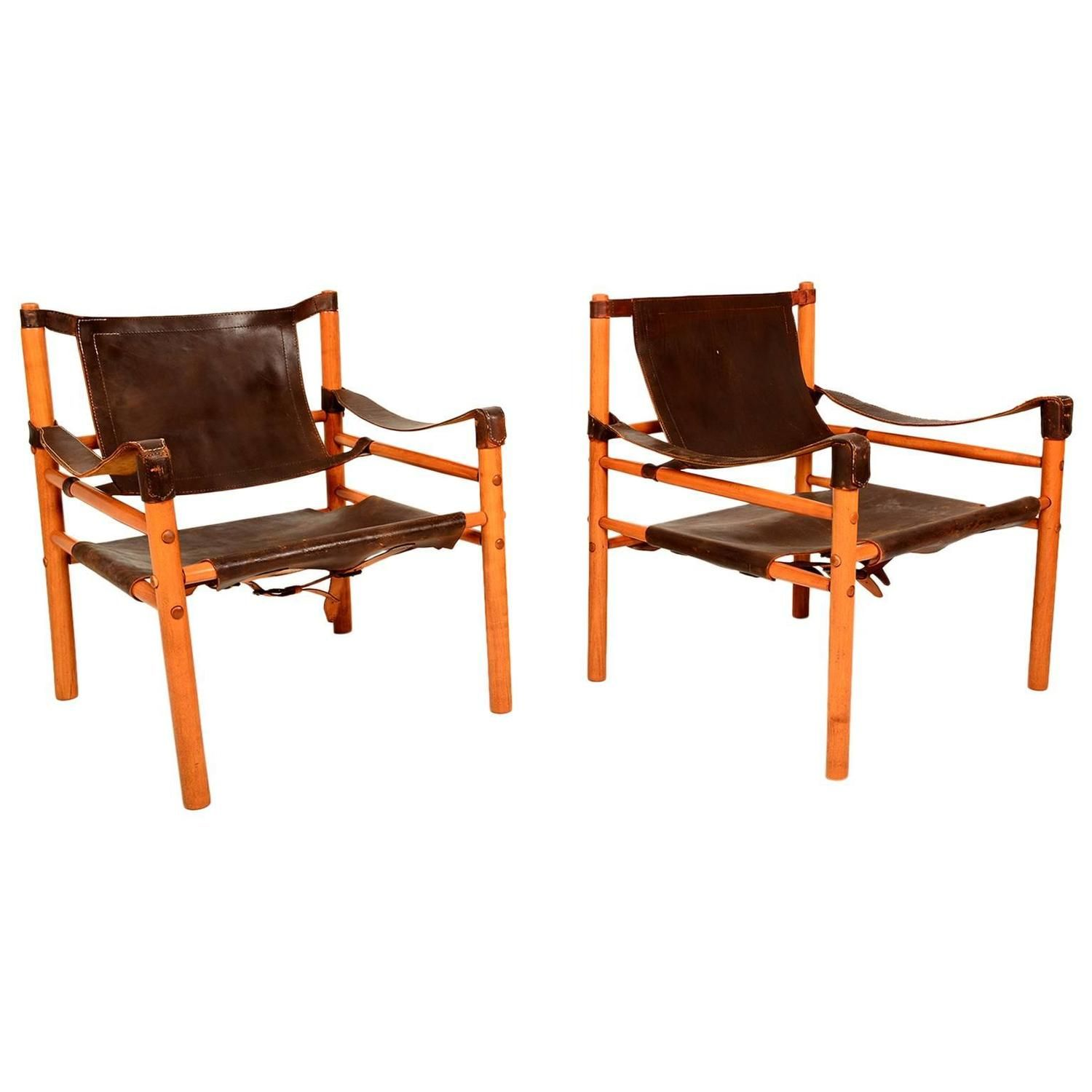 Mid Century Modern Pair of Safari Chairs Leather & Wood