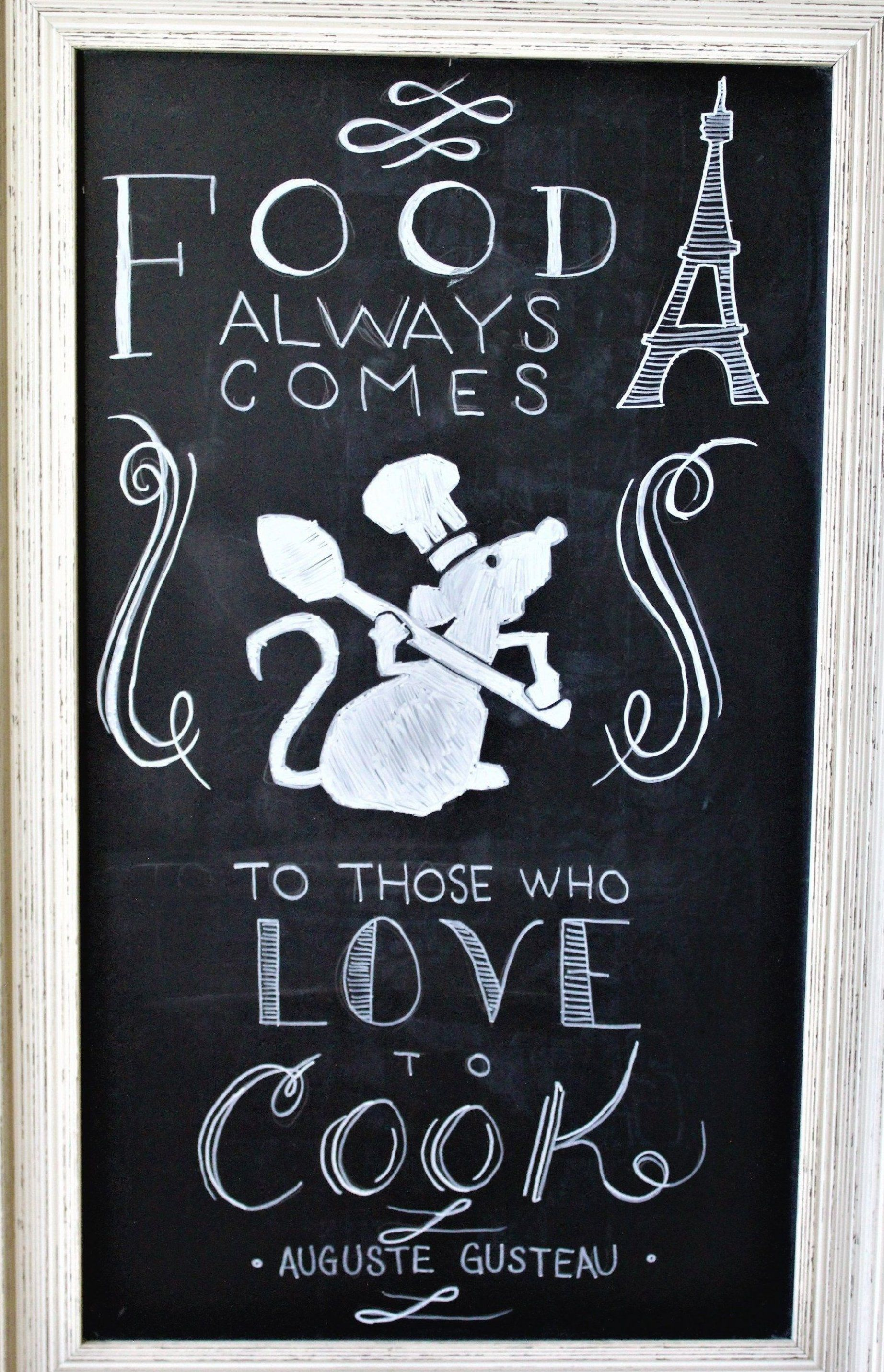 Celebrate The 10th Anniversary Of Disney Pixar Ratatouille With A Video Step By Step On Creating A Chef Remy Ch In 2020 Disney Decor Chalkboard Art Disney Home Decor