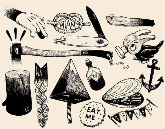 Traditional Tattoo Line Drawing : Mcbess tattoo s simple designs