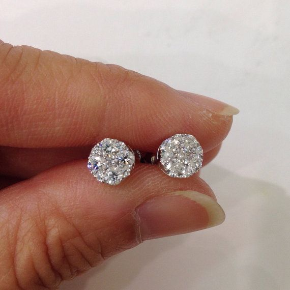 18k 3 4 Carat 5 Diamond Round Stud Earrings Si By Luxinellejewelry