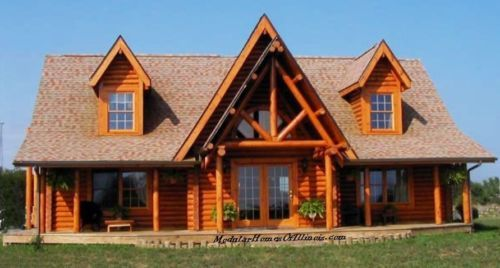 Modular Log Home Cape Cod 2 Dormers Log Siding With Full Log Corners Included Modular Log Homes Log Homes Modular Homes