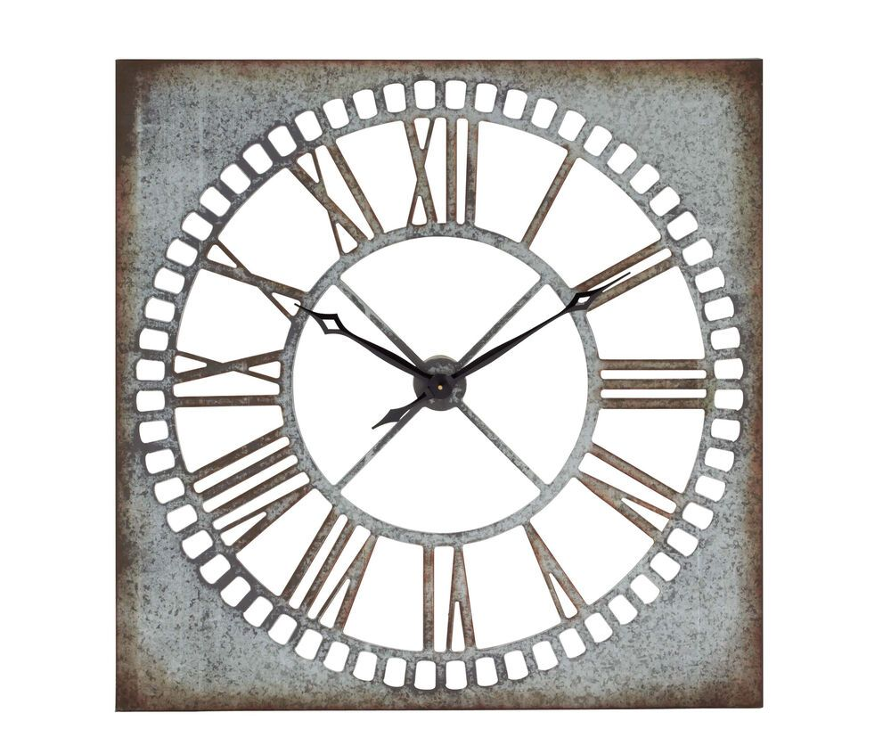 Unique Style Wall Clock Square Rusted Features Roman