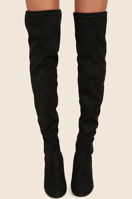 878556150ad Steve Madden Norri Black Suede Over the Knee Boots | F ...