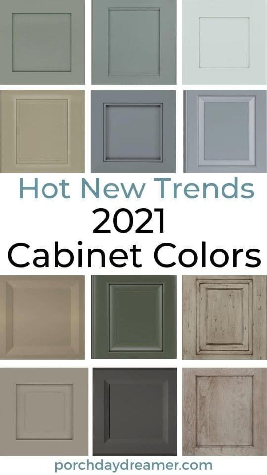 The best 2021 cabinet color trends at your fingertips. See the trending paint and stain finishes for kitchen and bath cabinets. #cabinets #paintcolors #cabinetcolors #kitchencabinets #colortrends #2021colors