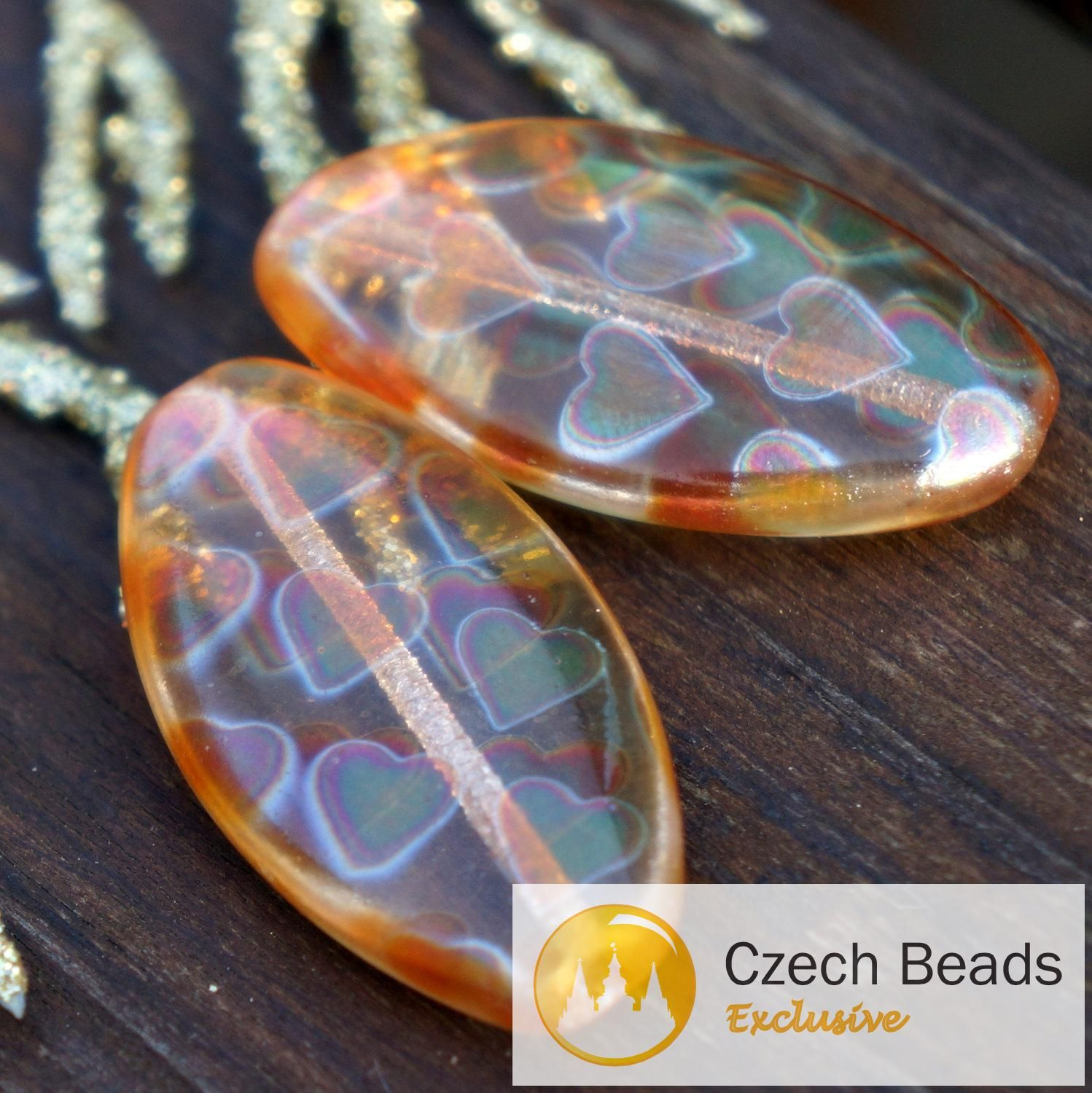 a what s hot today orange peacock czech oval beads large oval flat